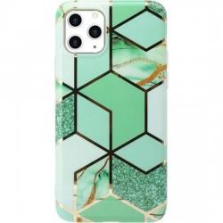 Husa protectie Flippy compatibila cu  Samsung Galaxy A12 Soft IMD TPU Marble Geometric Verde