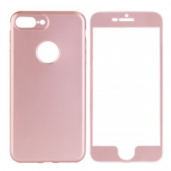Husa Apple iPhone 6 Plus Full Silicone 360 Roz Auriu + Folie de protectie