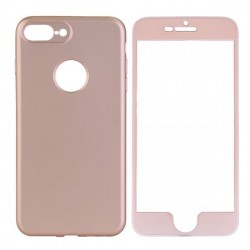 Husa Apple iPhone 6 Plus Full Silicone 360 Auriu + Folie de protectie