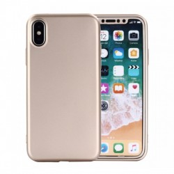 Husa Apple iPhone 7 Full Silicone 360 Auriu + Folie de protectie
