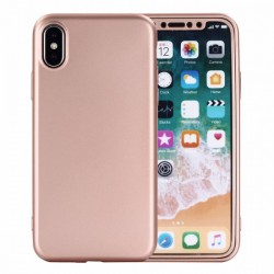 Husa Apple iPhone 7 Full Silicone 360 Roz Auriu + Folie de protectie
