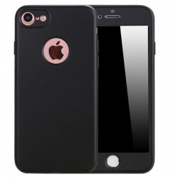 Husa Apple iPhone 7 Full Silicone 360 Negru + Folie de protectie