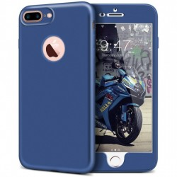 Husa Apple iPhone 7 Full Silicone 360 Albastru + Folie de protectie