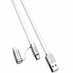 Cablu date Fineblue F-U6 2 in 1 (MicroUSB + Lightning) Alb