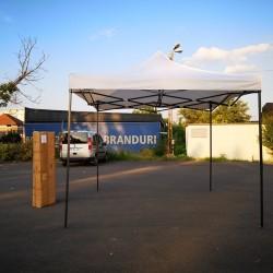 Cort Pavilion 3x3m Alb Pliabil Cadru Metal pentru Curte, Gradina, Evenimente