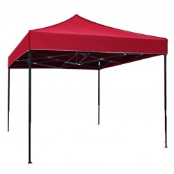 Cort Pavilion 3x3m Rosu Pliabil Cadru Metal pentru Curte, Gradina, Evenimente