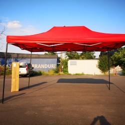 Cort Pavilion 3x4.5m Rosu Pliabil Cadru Metal pentru Curte, Gradina, Evenimente