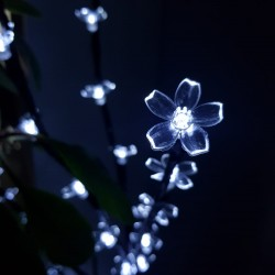 Decoratiune Luminoasa Crenguta cu Baterii 72 LED -uri Flori Alb Rece