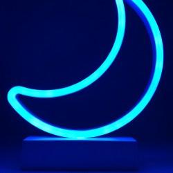 Decoratiune Luminoasa cu Baterii Semiluna 25 cm Albastru