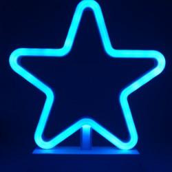 Decoratiune Luminoasa cu Baterii Stea 25 cm Albastru