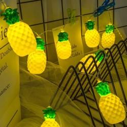Instalatie de Craciun, Flippy®, Tip Sir cu Baterii, 1.5 m, 10 LED-uri, Model Ananas, Galben