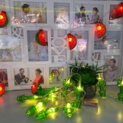 Instalatie de Craciun cu Baterii Fir Transparent Tip Sir 1.5 m 10 LED -uri Cactus Alb Cald
