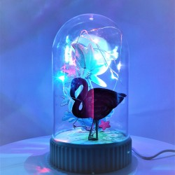 Decoratiune Luminoasa  Glob cu USB Model Flamingo 14.5 cm Multicolor
