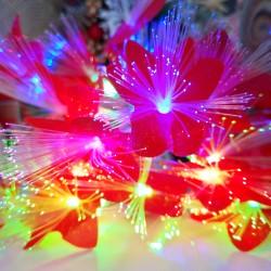 Instalatie de Craciun cu Baterii 20 LED -uri Fibra Optica Flori Rosu