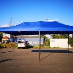 Cort Pavilion 3x6m Albastru Pliabil Cadru Metal pentru Curte, Gradina, Evenimente