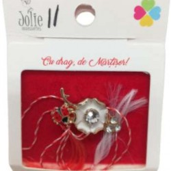 Martisor Brosa Floare cu Buburuza Model B-11 5.5cm x 7cm