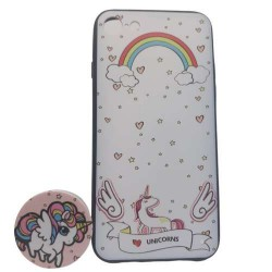 Husa Apple iPhone 6 Plus/6S Plus Multicolor Model Unicorn + Popsocket inclus