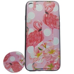 Husa Apple iPhone 6 Plus/6S Plus Multicolor Model Flamingo + Popsocket inclus