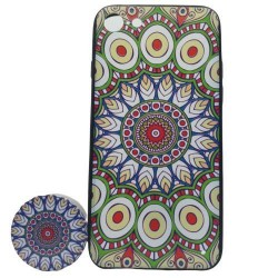 Husa Apple iPhone 6 Plus/6S Plus Multicolor Model Paun   Popsocket inclus