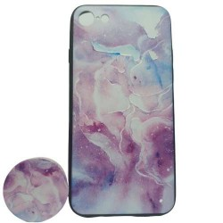 Husa Apple iPhone 6 Plus/6S Plus Multicolor Model Galaxie   Popsocket inclus