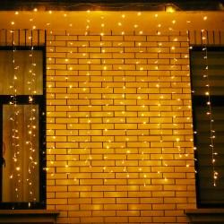 Instalatie de Craciun Flippy® Tip Perdea, 2 x 2 m, 240 LED-uri, Interconectabila, Alb Cald