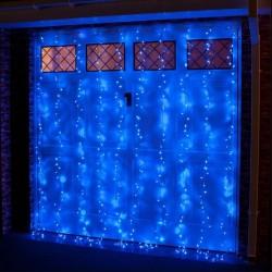 Instalatie de Craciun Flippy® Tip Perdea, 3 x 2 m, 240 LED-uri, Interconectabila, Albastru