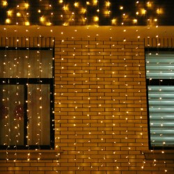 Instalatie de Craciun Flippy® Tip Perdea, 3 x 3 m, 320 LED-uri, Interconectabila, Alb Cald