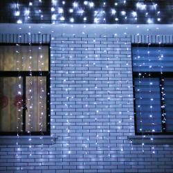 Instalatie de Craciun Flippy® Tip Perdea, 3 x 3 m, 320 LED-uri, Interconectabila, Alb Rece