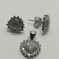 Set din Argint 925, model Inima cu Zirconii