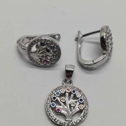 Set Argint 925 Copacel cu Pietre Colorate