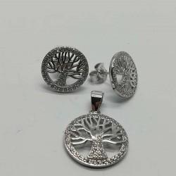 Set Argint 925 Copac Incadrat cu Zirconii Albe