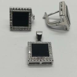 Set Argint 925 cu Onix Patrat