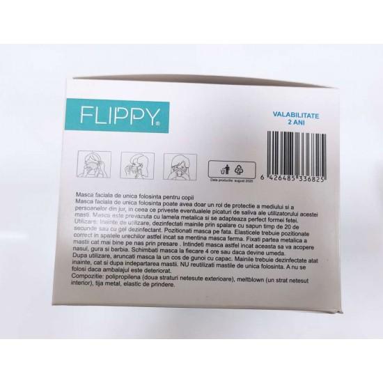 Masca faciala pentru copii, Flippy, 3 straturi si 3 pliuri, albastra - 1 bucata