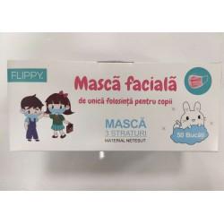 Masca faciala pentru copii, Flippy, 3 straturi si 3 pliuri, ROZ - 1 bucata