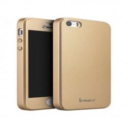 Husa Apple iPhone 5/5S/SE IPAKY Full Cover 360 Auriu cu Folie Cadou