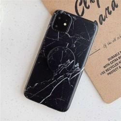 Husa Apple iPhone 11 Pro Soft IMD TPU Marble Negru cu Suport inclus