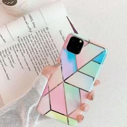Husa Apple iPhone 11 Pro Max Soft IMD TPU Marble Geometric Roz