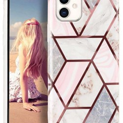 Husa Apple iPhone 11 Pro Max Soft IMD TPU Marble Geometric Alb