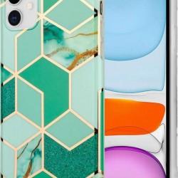 Husa Apple iPhone 11 Pro Soft IMD TPU Marble Geometric Verde