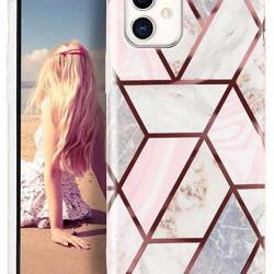 Husa Apple iPhone 11 Pro Soft IMD TPU Marble Geometric Alb