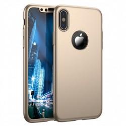 Husa Apple iPhone 5/5S/SE Full Cover 360 Auriu + Folie de protectie